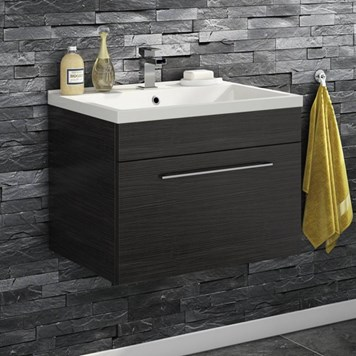 Aspire 600mm Wall Mounted 1 Drawer Vanity Unit & Basin - Black Ash