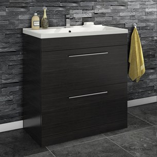 Aspire 800mm Floorstanding 2 Drawer Vanity Unit & Basin - Black Ash