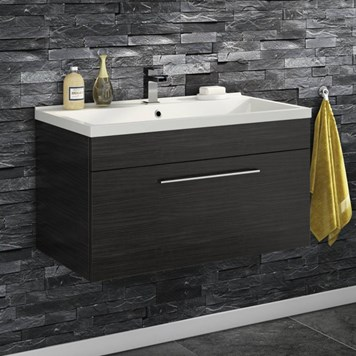 Aspire 800mm Wall Mounted 1 Drawer Vanity Unit & Basin - Black Ash
