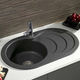 Astracast Cascade 1 Bowl Italian Black Composite Sink Waste Kit With Reversible Drainer 790 X 480mm