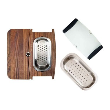 Astracast Korona 1 Bowl Accessory Pack With 2 Piece Mahogany Board, Glass Chopping Board & Colander - Stainless Steel Plus