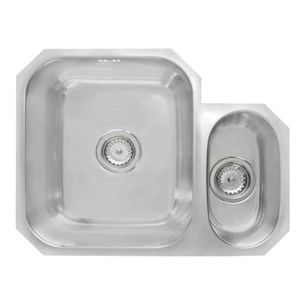 Astracast 1.5 Bowl Undermount Polished Stainless Steel Sink & Waste Kit with Right Hand Small Bowl - 580 x 450mm