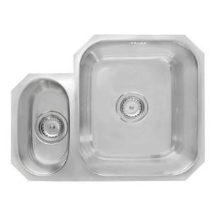 Astracast 1.5 Bowl Undermount Polished Stainless Steel Sink & Waste Kit with Left Hand Small Bowl - 580 x 450mm