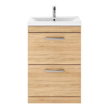 Drench Emily 600mm Floorstanding 2 Drawer Vanity Unit - Natural Oak
