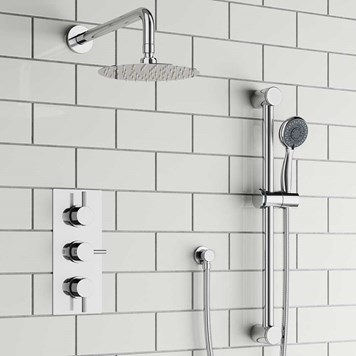 Atlantis Concealed Shower Valve with Fixed Shower Head & Slide Rail Kit