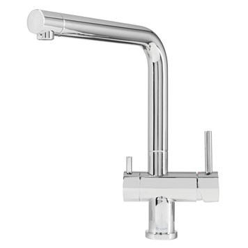 Caple Atmore Puriti Twin Lever Mono Kitchen Mixer & Cold Filtered Water Tap - Chrome