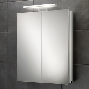 HIB Atomic LED Lit Overlight Double Door Aluminium Cabinet with Shaver Scoket