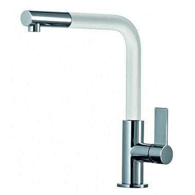Clearwater Auriga Single Lever Mono Kitchen Tap With Pull Out Aerator - Brushed Nickel/White