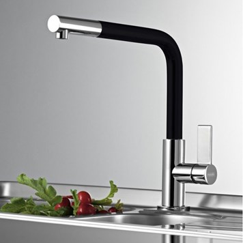 Clearwater Auriga Single Lever Mono Kitchen Tap With Pull Out Aerator - Brushed Nickel/Black