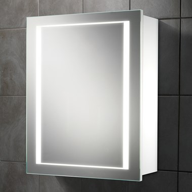 HIB Austin LED Illuminated Single Door White Gloss Cabinet