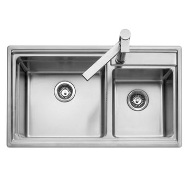 Caple Axle 1.75 Bowl Stainless Steel Sink with Waste Kit & Accessories - 860 x 500mm