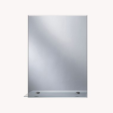 Bathroom Origins Straight Edge Bathroom Mirror with Glass Shelf - 700 x 500mm