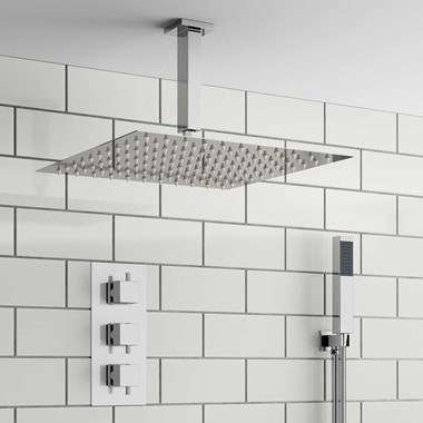 Balta Square Concealed Shower Valve with Fixed Shower Head & Handset