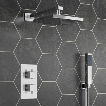 Banoi Square Concealed Shower Valve with Fixed Shower Head & Handset