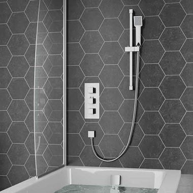 Drench Barnaby Concealed Shower Valve, Slide Rail Kit & Overflow Bath Filler