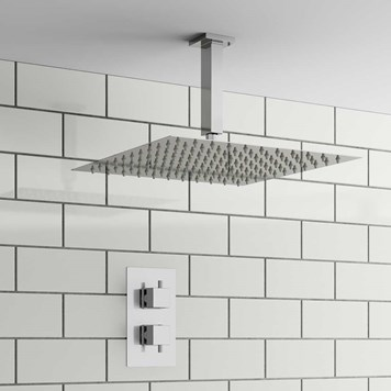 Basso Square Concealed Shower Valve & Fixed Shower Head