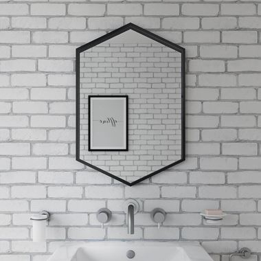 Bathroom Origins Docklands Hexagonal Mirror - Black Frame