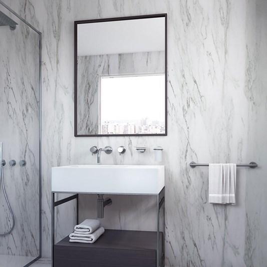 Bathroom Origins Docklands Rectangular Mirror Matt Black Frame Tap Warehouse