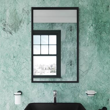 Bathroom Origins Docklands Rectangular Mirror - Matt Black Frame