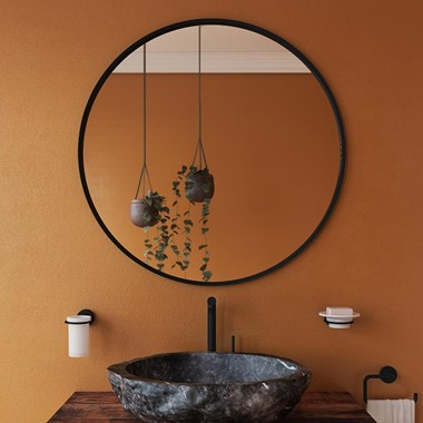 Bathroom Origins Docklands Round Mirror - Matt Black Frame - 800 x 800mm