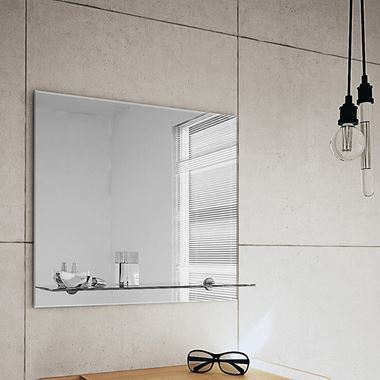 Bathroom Origins Straight Edge Bathroom Mirror with Glass Shelf - 500 x 550mm