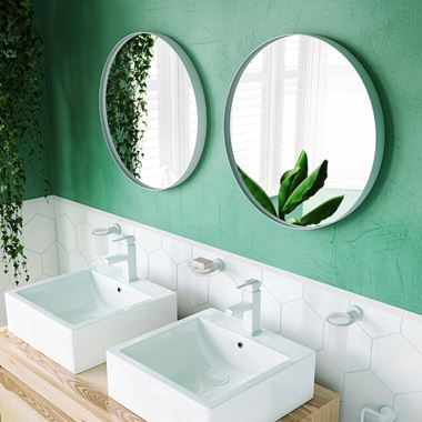 Bathroom Origins City Round Mirror 600mm - White