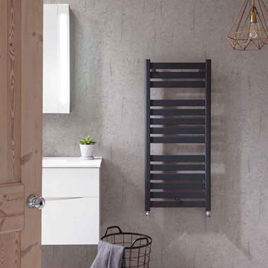 Bauhaus Edge Flat Panel Towel Rail in Anthracite