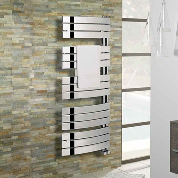 Bauhaus Essence Curved Flat Panel Towel Rail in Chrome - 1080 x 550mm