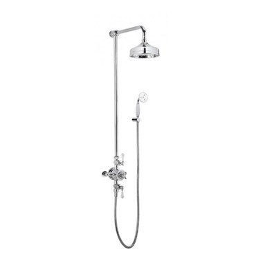 Crosswater Belgravia Multifunction Shower Valve with Handset and Bracket and Fixed Shower Head  - 8 Inch Nickel Shower Head