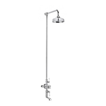 Crosswater Belgravia Exposed Thermostatic Shower Valve with 8 Inch Fixed Head and Bath Spout