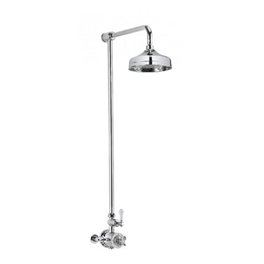 Crosswater Belgravia Exposed Thermostatic Shower Valve with Fixed Shower Head  - 8 Inch Nickel Shower Head