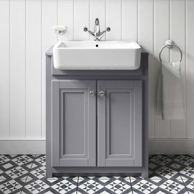 Bulter & Rose Catherine Traditional Floorstanding Vanity Unit with Belfast Sink - Matt Grey