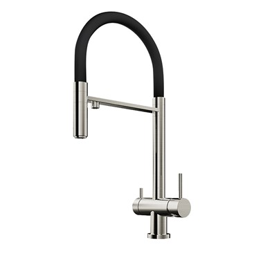 Clearwater Bellatrix Professional Mono Kitchen Mixer with Detachable Spout and Cold Filtered Water - Brushed Nickel/Black