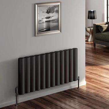 Reina Belva Double Panel Horizontal Designer Radiator - Anthracite - 600 x 828mm