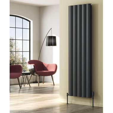 Reina Belva Aluminium Double Panel Vertical Designer Radiator - Anthracite