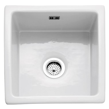Caple Berkshire Single Bowl Inset or Undermount White Ceramic Kitchen Sink - 450 x 475mm