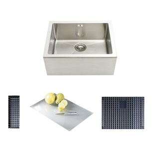 Astracast Belfast Steel 1 Bowl Feature Sink Pack With Chrome Wastes, Overflow, Demi Drainer, Glass Chopping Board & Bowl Grid - Brushed Stainless Steel