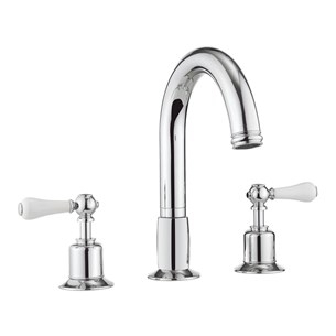 Crosswater Belgravia Lever Bath Deck Mounted 3 Hole Bath Filler - Chrome