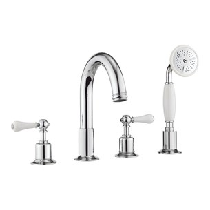 Crosswater Belgravia Lever Deck Mounted 4 Hole Bath Filler - Chrome