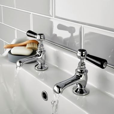 Hudson Reed Black Topaz Lever Basin Taps With Hexagonal Collars - Chrome/Black