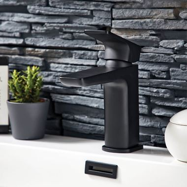 Harbour Status Matt Black Mono Basin Mixer Tap