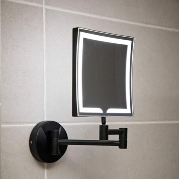 Vellamo LED Illuminated Matt Black Square Magnifying Wall Mirror