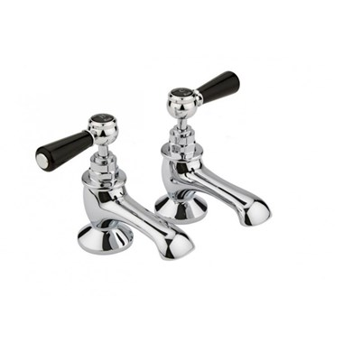 Hudson Reed Black Topaz Lever Bath Taps With Hexagonal Collars - Chrome/Black