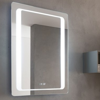 Bathroom Origins Glow Mirror With Digital Clock
