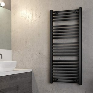 Brenton Matt Black Flat Heated Towel Rail - 1100 x 500mm