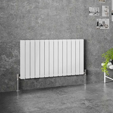 Brenton Flat Double Panel Horizontal Radiator - 600mm x 1032mm - White
