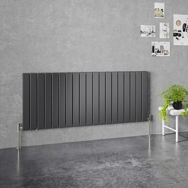 Brenton Flat Double Panel Horizontal Radiator - 600mm x 1402mm - Anthracite