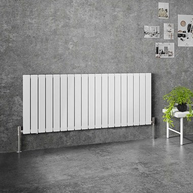 Brenton Flat Double Panel Horizontal Radiator - 600mm x 1402mm - White