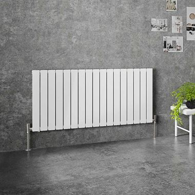 Brenton Flat Single Panel Horizontal Radiator - 600mm x 1254mm - White