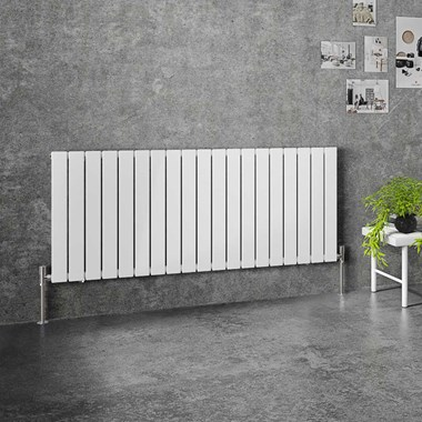 Brenton Flat Single Panel Horizontal Radiator - 600mm x 1402mm - White